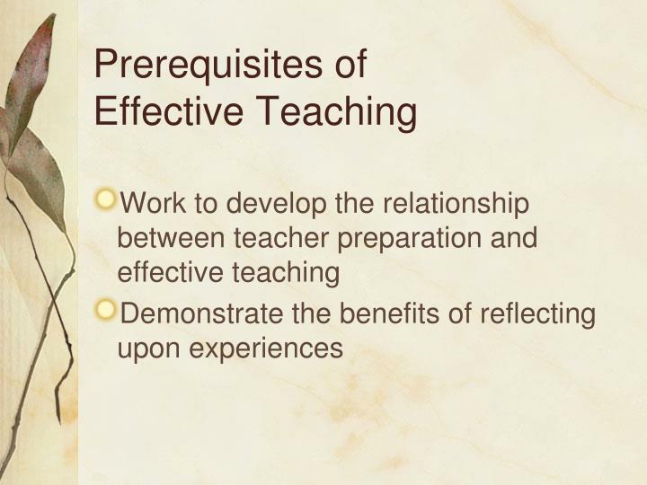 Prerequisites of