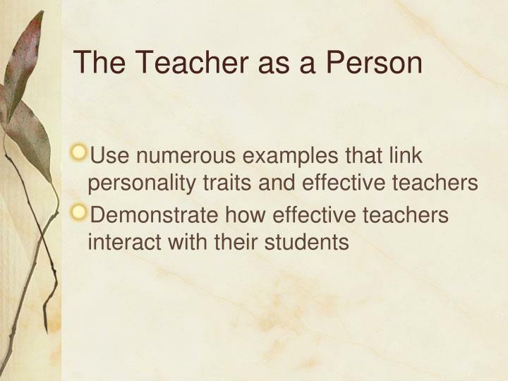 The Teacher as a Person