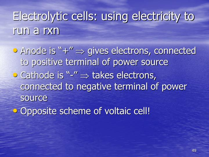 Electrolytic cells: using electricity to run a rxn