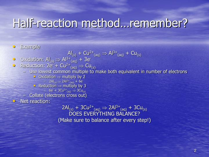 Half-reaction method…remember?