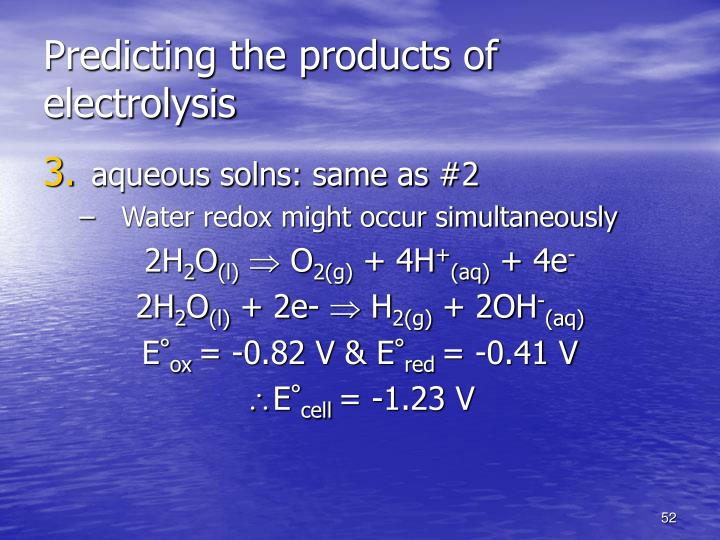 Predicting the products of electrolysis
