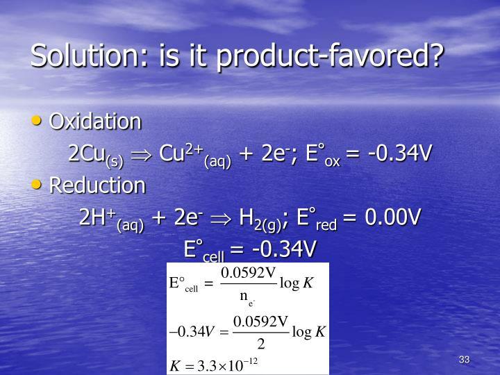 Solution: is it product-favored?