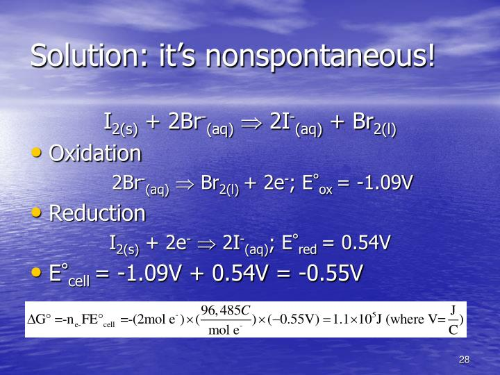 Solution: it's nonspontaneous!
