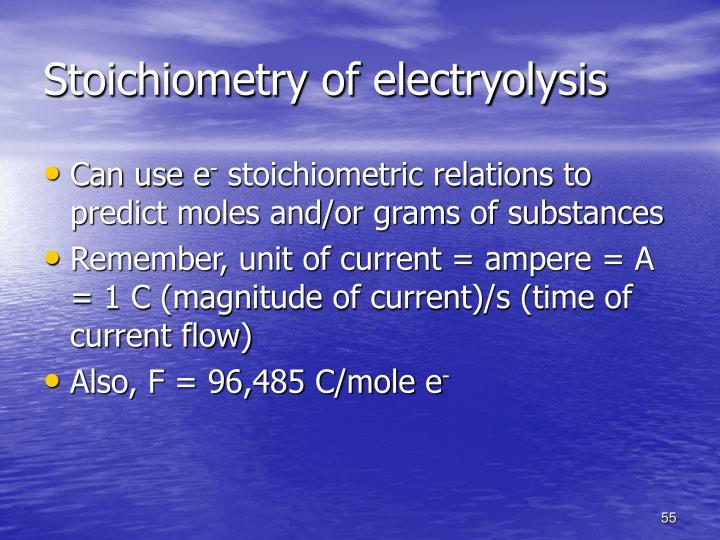 Stoichiometry of electryolysis