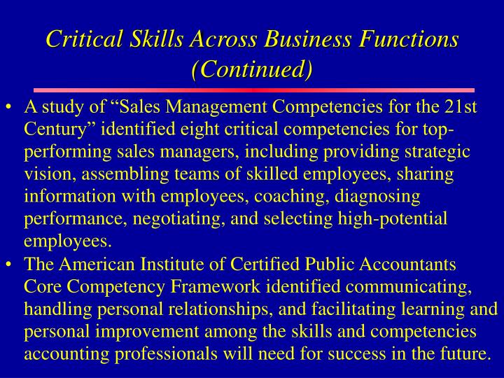 Critical Skills Across Business Functions (Continued)
