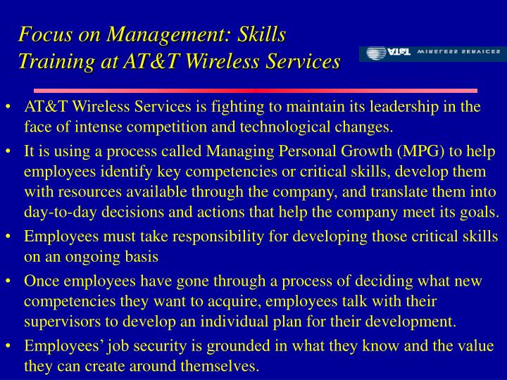 Focus on Management: Skills Training at AT&T Wireless Services