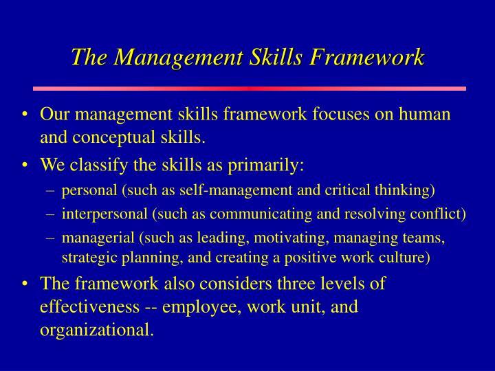 The Management Skills Framework
