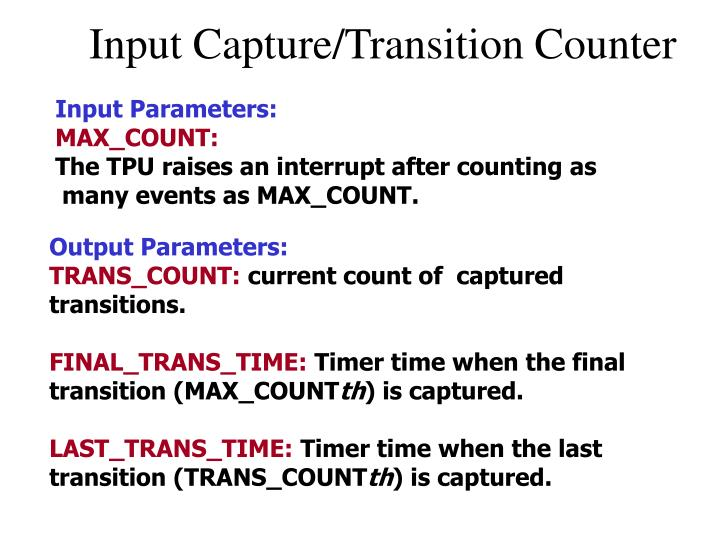 Input Capture/Transition Counter