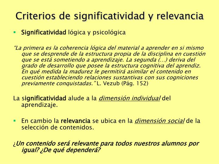 Criterios de significatividad y relevancia
