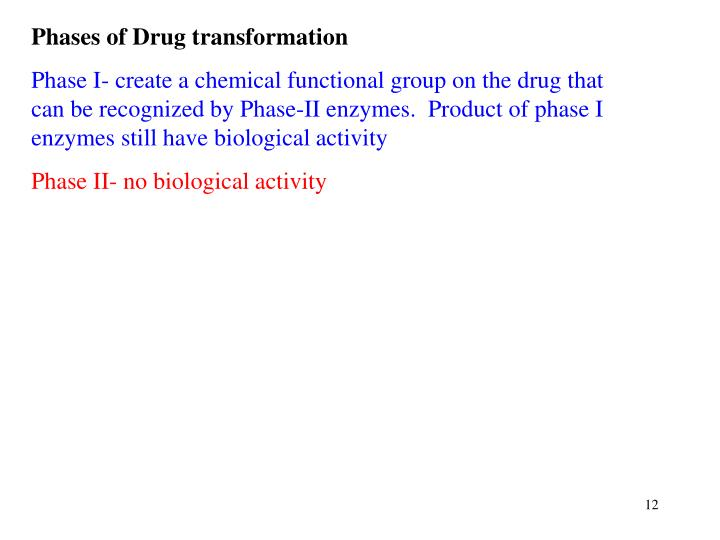 Phases of Drug transformation