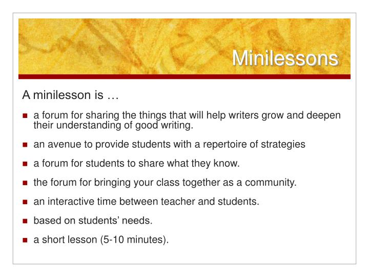 Minilessons