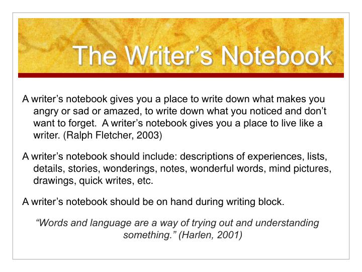 The writer s notebook