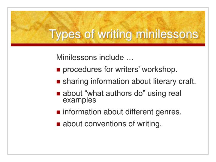 Types of writing minilessons