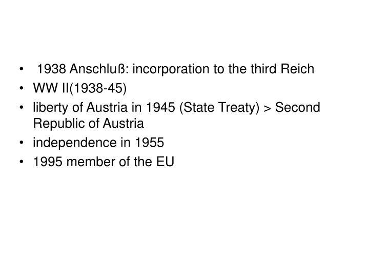 1938 Anschluß: incorporation to the third Reich