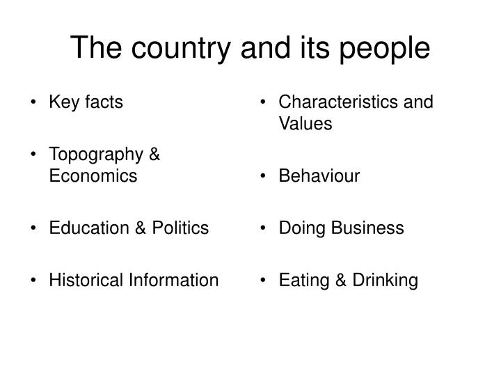 The country and its people