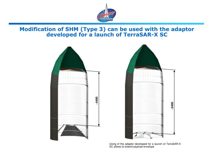 Modification of SHM (Type 3) can be used with the adaptor developed for a launch of TerraSAR-X SC