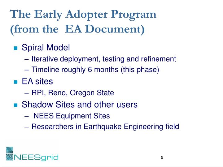The Early Adopter Program