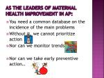 as the leaders of maternal health improvement in ap