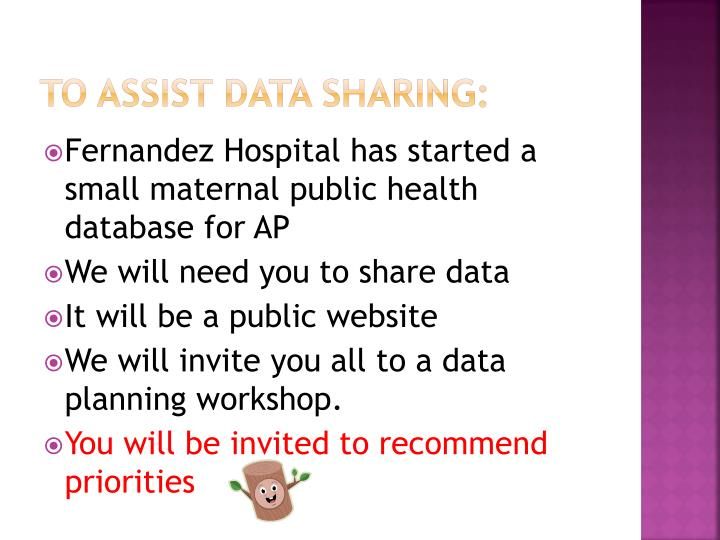 To assist data sharing: