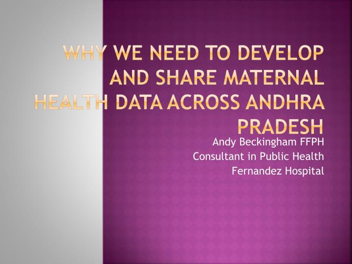 Why we need to develop and share maternal health data across Andhra Pradesh