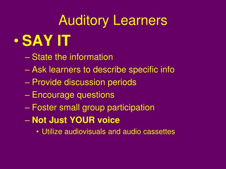 Auditory Learners