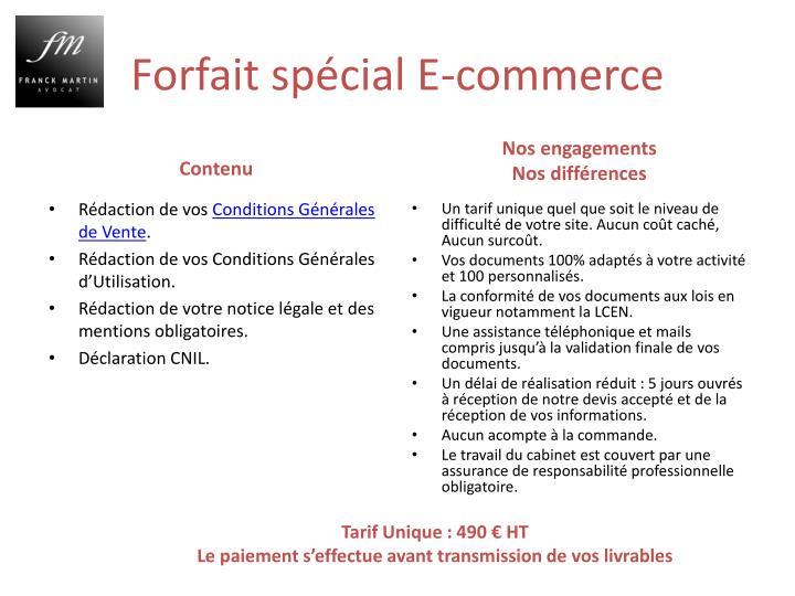 Forfait spécial E-commerce