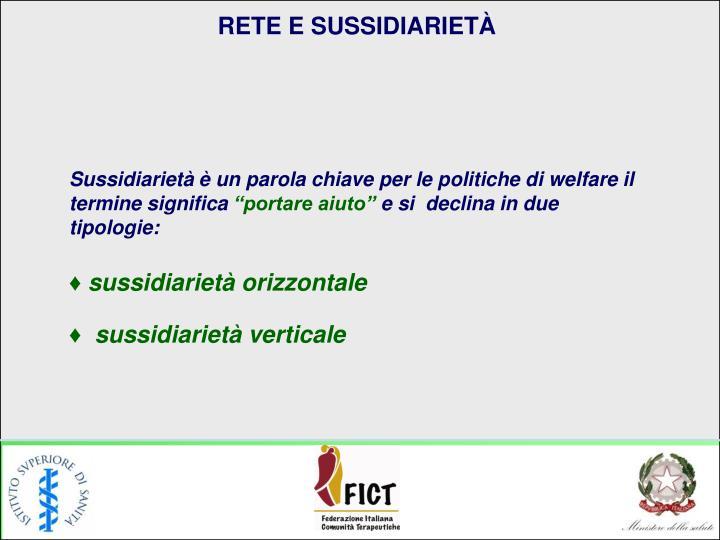 RETE E SUSSIDIARIETÀ