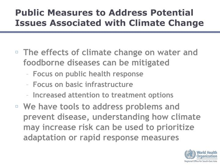 Public Measures to Address Potential Issues Associated with Climate Change