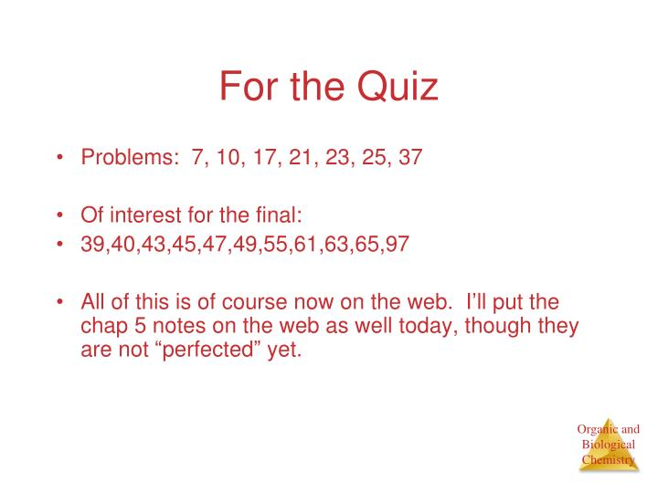 For the Quiz