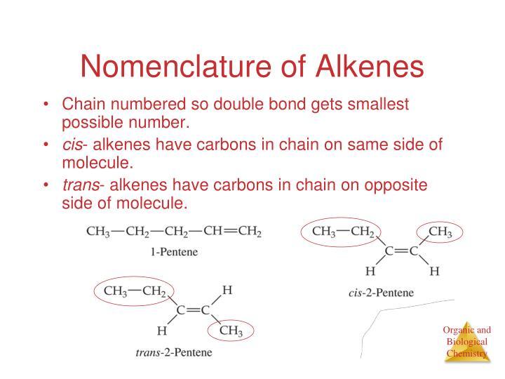 Nomenclature of Alkenes
