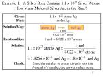 example 1 a silver ring contains 1 1 x 10 22 silver atoms how many moles of silver are in the ring