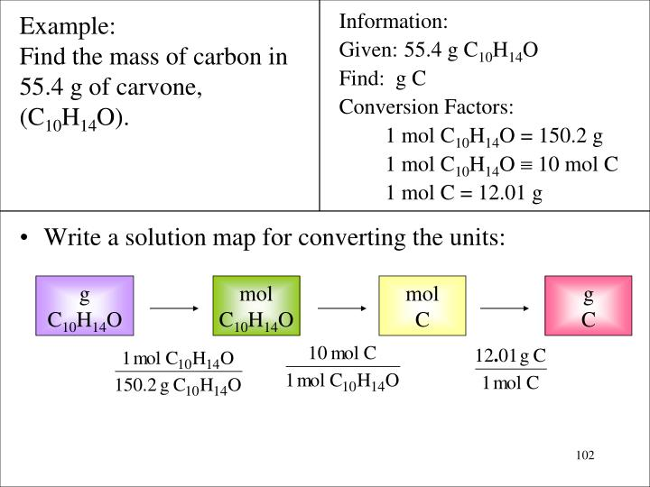 Write a solution map for converting the units: