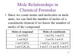 mole relationships in chemical formulas