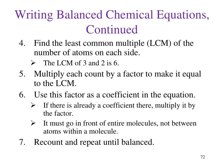 Writing Balanced Chemical Equations, Continued