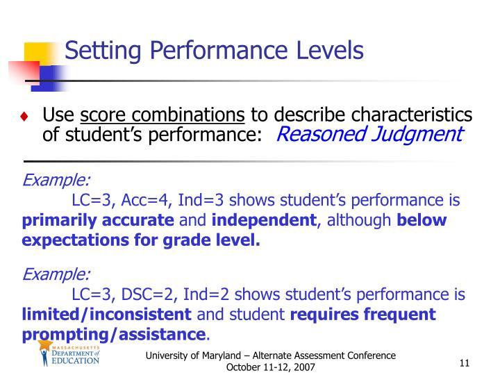 Setting Performance Levels