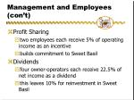 management and employees con t