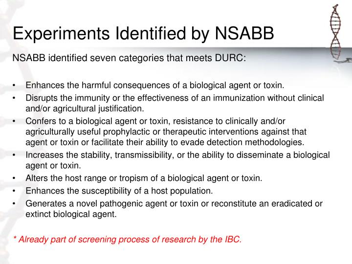 Experiments Identified by NSABB