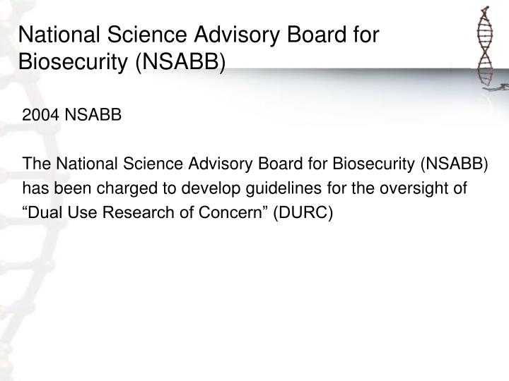 National Science Advisory Board for Biosecurity (NSABB)