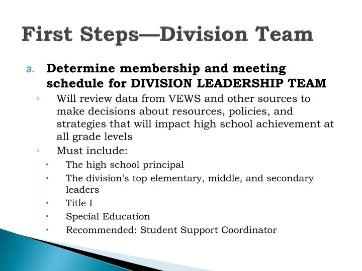 First Steps—Division Team