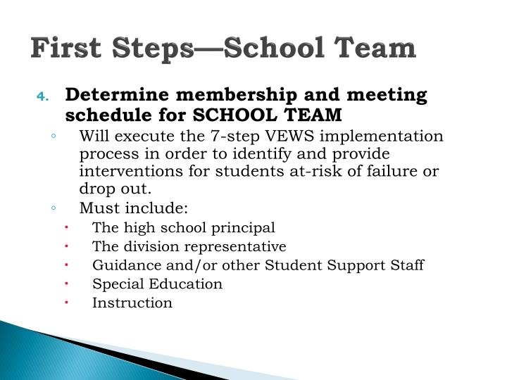 First Steps—School Team