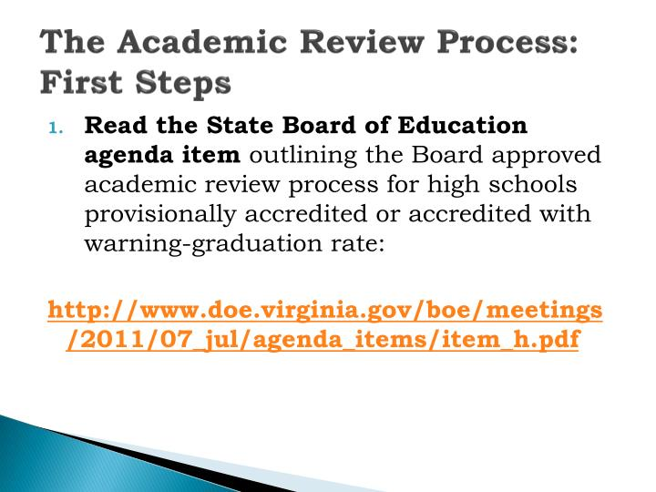The Academic Review Process: First Steps