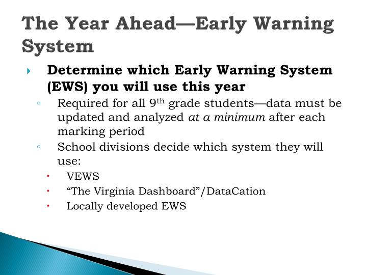 The Year Ahead—Early Warning System