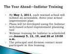 the year ahead indistar training