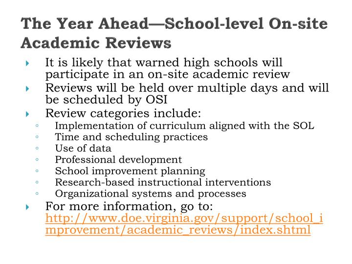 The Year Ahead—School-level On-site Academic Reviews