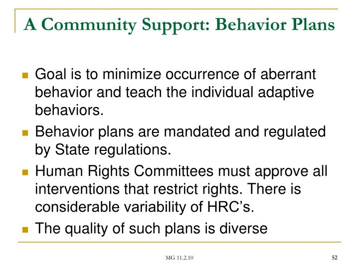 A Community Support: Behavior Plans