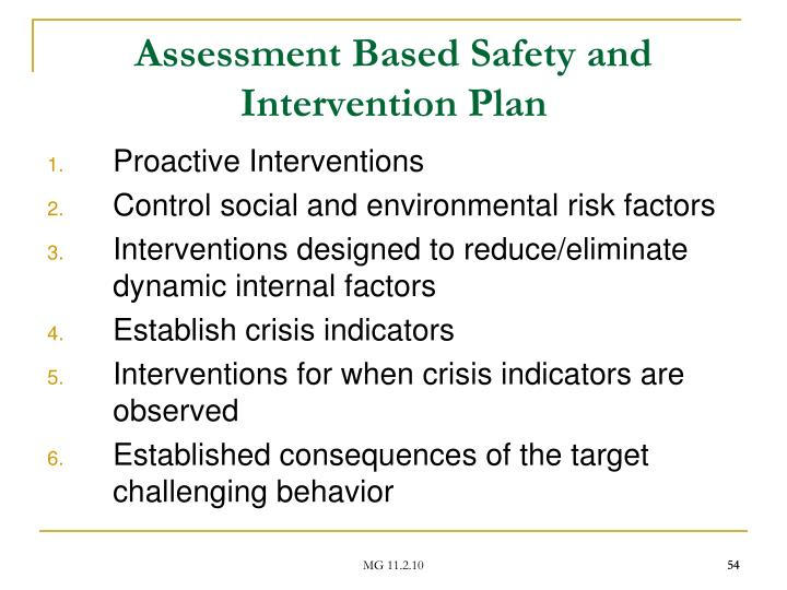 Assessment Based Safety and Intervention Plan