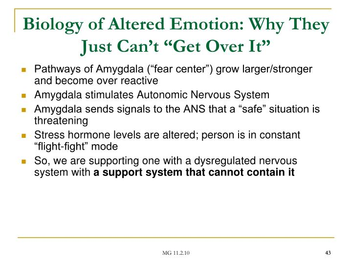 "Biology of Altered Emotion: Why They Just Can't ""Get Over It"""