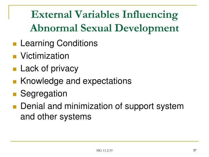 External Variables Influencing Abnormal Sexual Development