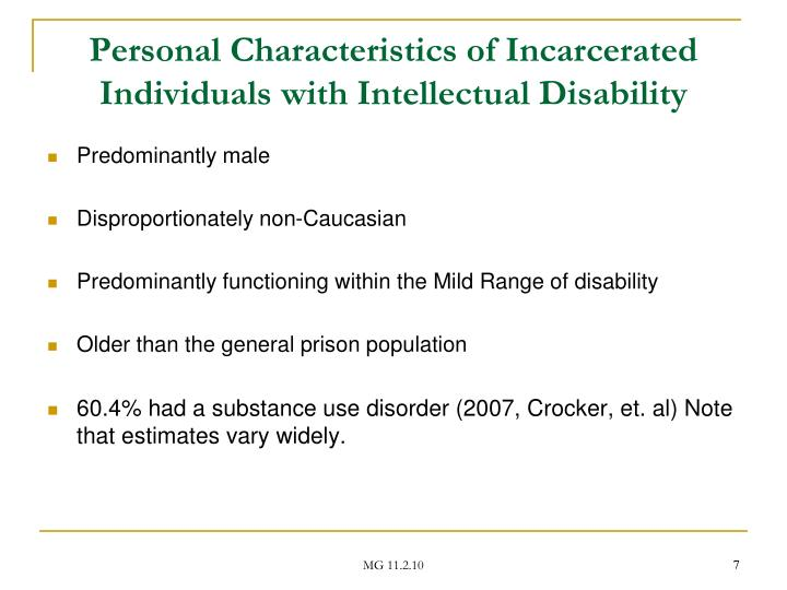 Personal Characteristics of Incarcerated Individuals with Intellectual Disability