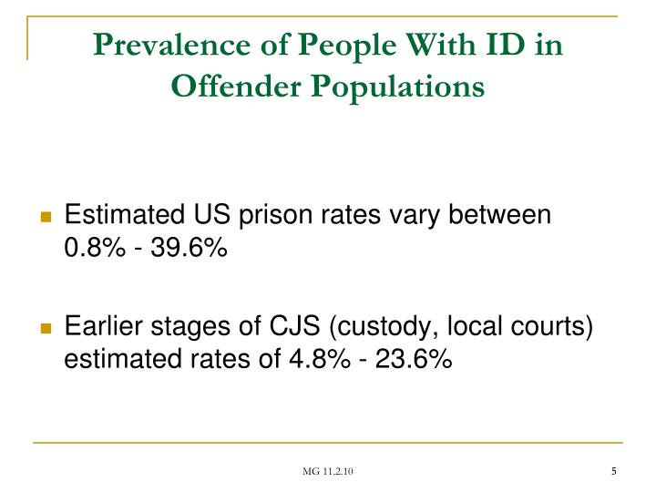 Prevalence of People With ID in Offender Populations
